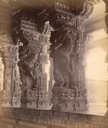 Close view of pillars with sculptured yali figures in a colonnade of the Ramalingeshvara Temple, Rameswaram